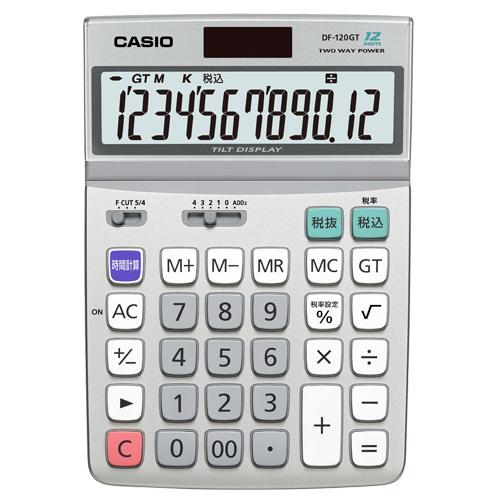 見やすく、使いやすい大型液晶 税計算/時間計算機能搭載。  カシオ エコマーク付電卓 12桁 デスクタイプ DF-120GT-N 1台 【送料無料】