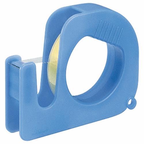 コンパクトで収納しやすいテープカッター。  ライオン事務器 ハンディテープカッター ブルー テープ1巻付 CS-15HC 1個