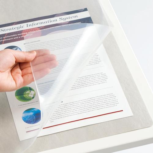 TANOSEE 再生透明オレフィンデスクマット ダブル(下敷付) 1390×690mm グレー 1セット(5枚) 【送料無料】