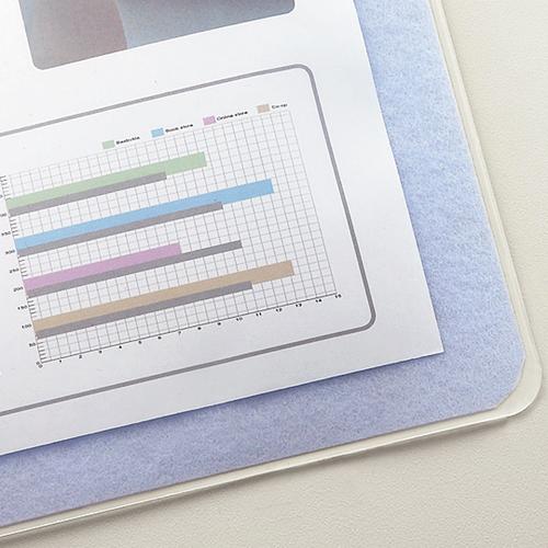 TANOSEE 再生透明オレフィンデスクマット ダブル(下敷付) 1390×690mm ライトブルー 1セット(5枚) 【送料無料】