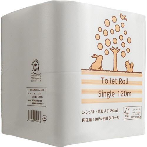 交換回数が減らせる長巻きロール 長~く使える オープニング 大放出セール 再生紙ロール デポー TANOSEE リサイクルトイレットペーパー 2倍巻 芯あり シングル 120m 48ロール:8ロール×6パック 1セット