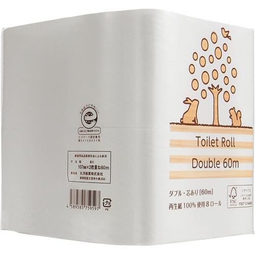 交換回数が減らせる長巻きロール 長~く使える 再生紙ロール TANOSEE 希望者のみラッピング無料 メーカー公式 リサイクルトイレットペーパー 2倍巻 60m ダブル 48ロール:8ロール×6パック 1セット 芯あり