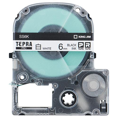 キングジム テプラ PRO テープカートリッジ 6mm 白/黒文字 エコパック SS6K-10PN 1セット(50個:10個×5パック) 【送料無料】