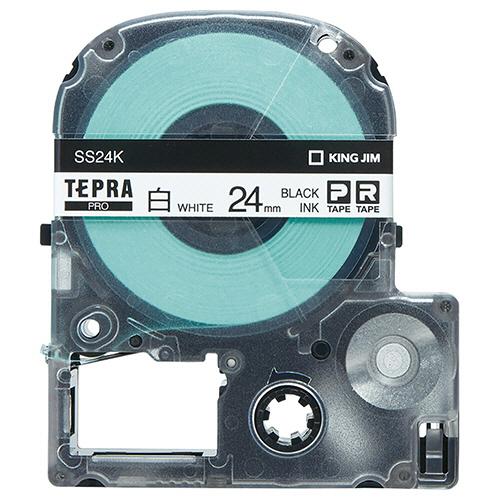 キングジム テプラ PRO テープカートリッジ 24mm 白/黒文字 エコパック SS24K-10PN 1セット(50個:10個×5パック) 【送料無料】