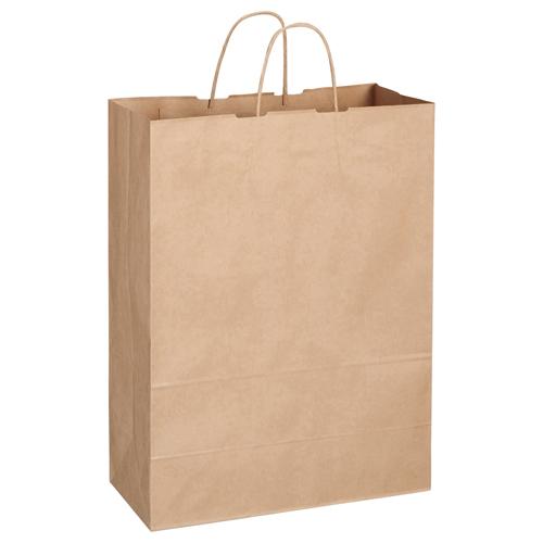 TANOSEE 紙手提袋 丸紐 特大 ヨコ360×タテ480×マチ幅170mm 茶無地 1セット(300枚:50枚×6パック) 【送料無料】