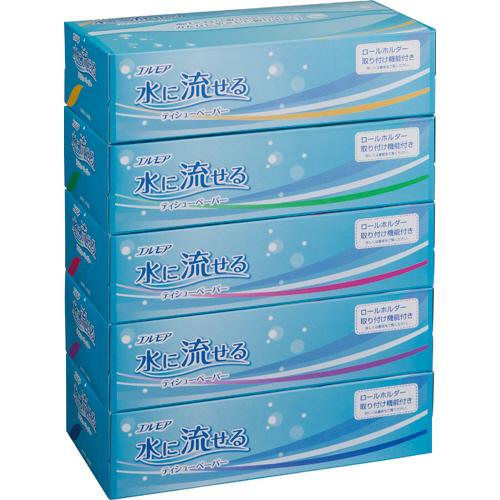 即納最大半額 水洗トイレにそのまま流せるティッシュペーパー カミ商事 エルモア 注文後の変更キャンセル返品 水に流せるティッシュペーパー 180組 50箱:5箱×10パック 1セット 箱 送料無料
