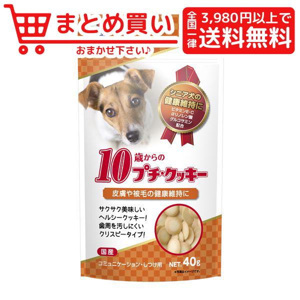 税込3980円以上で全国一律送料無料 ハイペット 新着 10歳からのプチ クッキー 安心と信頼 おやつ 40g ビスケット 犬