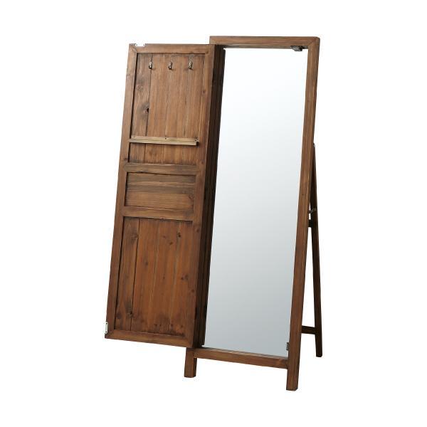 Wooden Mirror Jewelry Armoire ドア付き ウッド ミラー 幅45cm×高さ134cm 姿見 鏡 ドアミラー 天然木 木製 アンティーク調[AA-0001]pachakagu