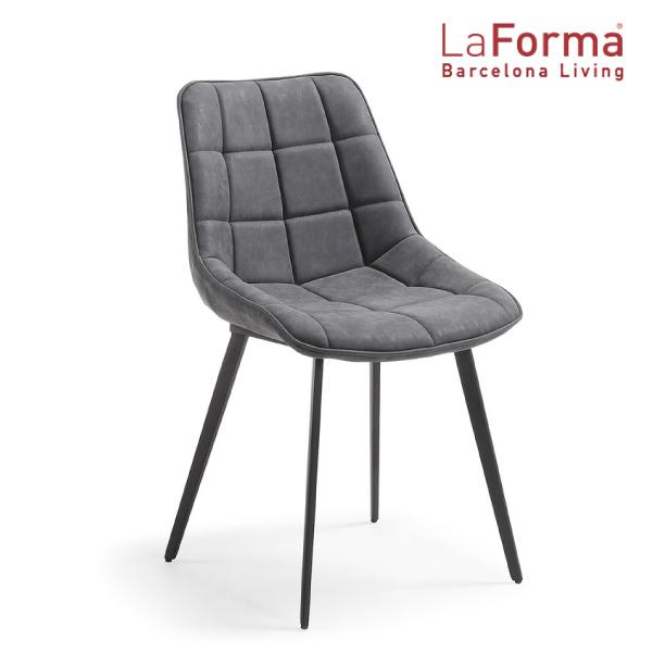 La Forma ADAH Chair DARK GRAY 2脚セット ラフォーマ バルセロナ チェア レザー ダークグレー ダイニングチェア メタル ブラック カフェ イス デザイナーズ[送料無料][LC-0002]pachakagu