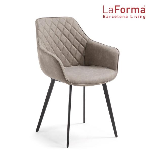 La Forma AMINY Armchair BEIGE ラフォーマ バルセロナ アームチェア レザー ベージュ グレージュ ダイニングチェア メタル ブラック カフェ イス デザイナーズ[送料無料][LC-0006]pachakagu