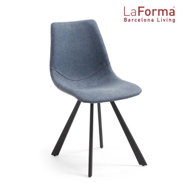 La Forma ANDI Chair DARK BLUE 2脚セット ラフォーマ バルセロナ アームチェア レザー ダークブルー ダイニングチェア メタル ブラック カフェ イス デザイナーズ[送料無料][LC-0007]pachakagu