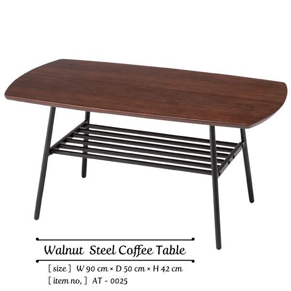 Walnut Steel Coffee Table 幅90×奥行き50×高さ42cm ウォールナット スチール コーヒーテーブル センターテーブル ヴィンテージ リビング カフェ 北欧風 ミッドセンチュー[送料無料][AT-0025]pachakagu