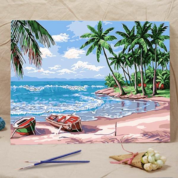 集中力を高めながら時間をかけて楽しめる 新しい趣味の発見に 仕上がったあとは壁に展示できます 数字塗り絵 油絵風 ビーチとヤシの木 海辺 アウトレット☆送料無料 大人の塗り絵 インテリア ホビー 驚きの値段で フレーム絵画 ぬり絵 趣味 DIY 風景 ナンバーピクチャー
