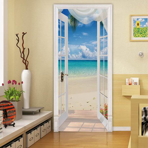 新生活 新居引越し お部屋の模様替えに ドアステッカー トリックアート 新作 海辺 ビーチ 部屋の壁紙 当店は最高な サービスを提供します インテリア だまし絵シール 隠し部屋 DIY 白いカーテン