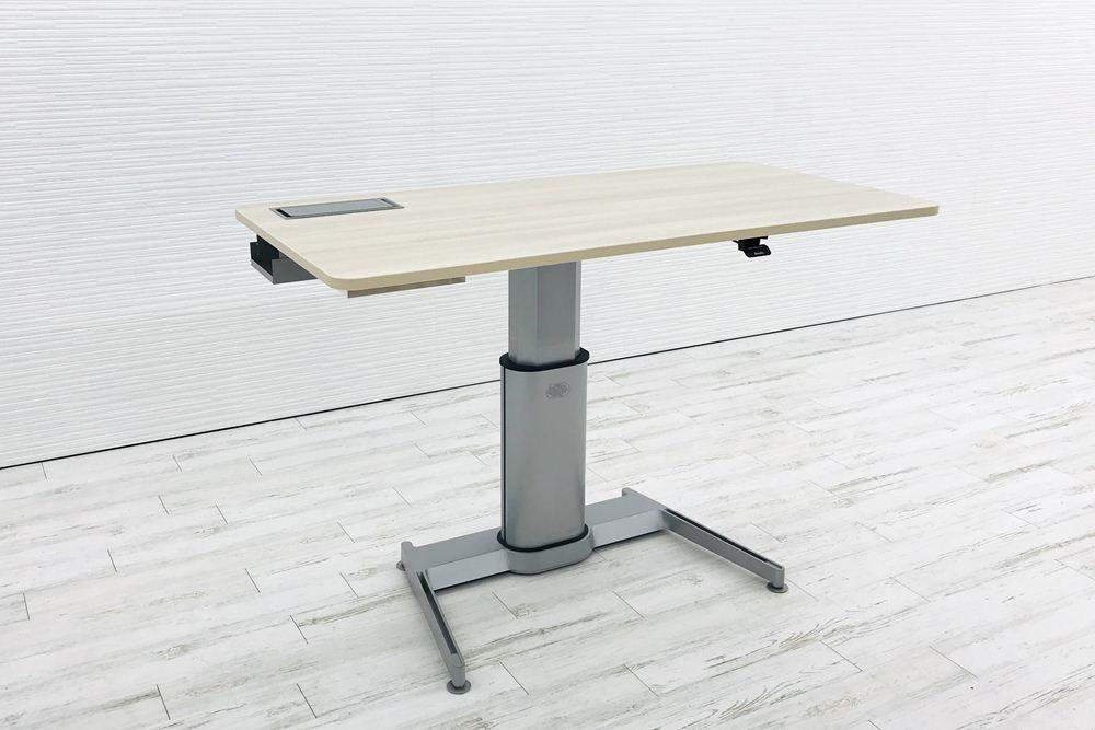 スチールケース 昇降テーブル エアタッチ Airtouch W1600×D800×H660~1092 中古デスク 手動上下昇降机 中古オフィス家具