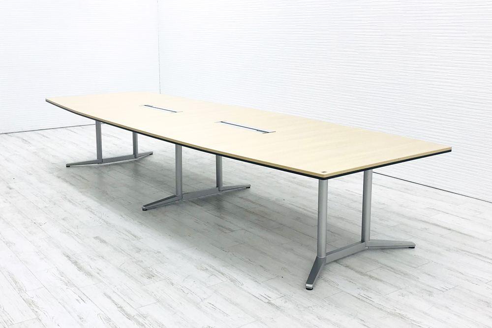 オカムラ ラティオ2 中古 W4000×D1400mm×H720mm 幅4000 ミーティングテーブル 会議机 中古オフィス家具 4L287E MR77