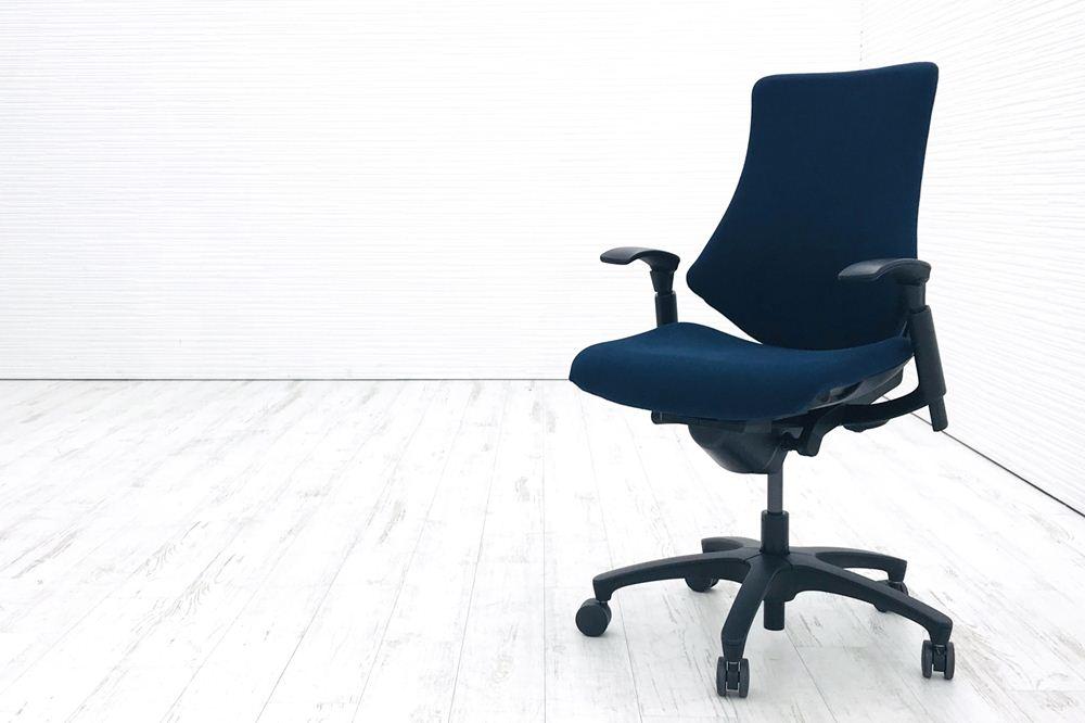 イトーキ エフチェア 中古オフィスチェア クッション 可動肘 事務椅子 ITOKI 中古オフィス家具 KF-330GS-T1B2 ネイビーブルー
