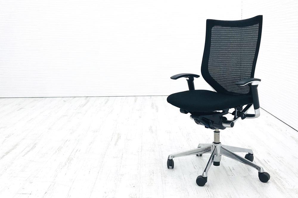 オカムラ バロンチェア パソコンチェア OAチェア デスクチェア オフィスチェア 中古チェア 中古 格安 リクライニング 椅子 バロンチェア 中古 オカムラ バロン ブラック 可動肘 ハイバック ポリッシュフレーム 中古オフィス家具 クッション