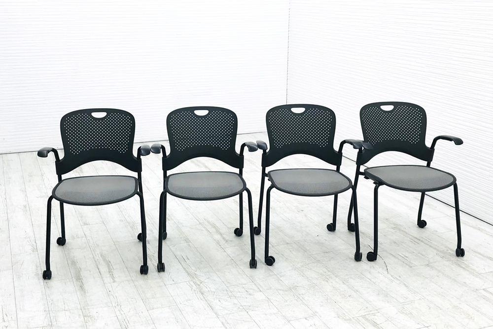 ハーマンミラー ケイパーチェア ミーティングチェア スタッキングチェア デスクチェア オフィスチェア お得 中古チェア 中古 2014年製 オリジナル 中古オフィス家具 リクライニング 椅子 4脚セット ブラック 格安 メッシュ