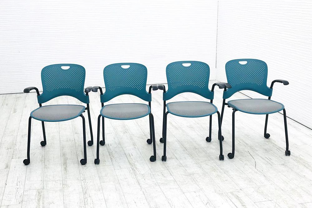 ハーマンミラー ケイパーチェア ミーティングチェア スタッキングチェア 現品 デスクチェア オフィスチェア 中古チェア 中古 ブルー 送料無料 中古オフィス家具 メッシュ 椅子 4脚セット 格安 リクライニング