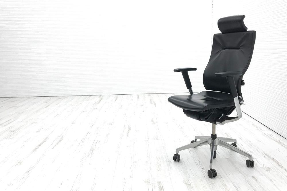 スピーナチェア 中古 イトーキ オフィスチェア スピーナ レザーバック ヘッドレスト 可動肘 KE-727LE-Z9T1 中古オフィス家具