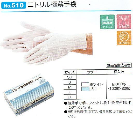 【ケース販売】ニトリル極薄手袋No510 ブルー 粉付 S2000枚(100枚×20箱)