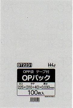 OPP袋 テープ付き A4 (幅)225×【(縦)310+(フタ)40】×0.03mm 100枚×10冊×5箱 5000枚
