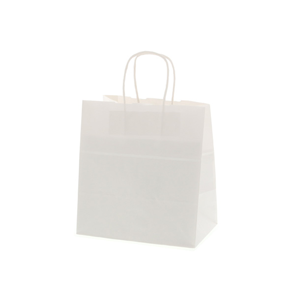 持ち帰り袋やプレゼント梱包など幅広く使えるホワイトカラー 手提紙袋 丸紐 25チャームバッグ 26-18 白無地 片艶タイプ 取っ手付き紙袋 パン 200枚入 全国一律送料無料 持ち帰り紙袋 売却 260×180×285mm ケーキ