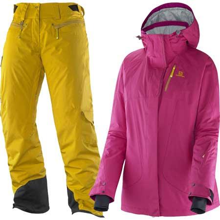 [送料無料] スキーウェア14-15 レディース サロモン SALOMONZERO JACKET W+ZERO PANT Wカラー:PINK+YE[pd装_snowwear] [50_off] [SP_SKI_WEAR] [特価 スキーウェア]