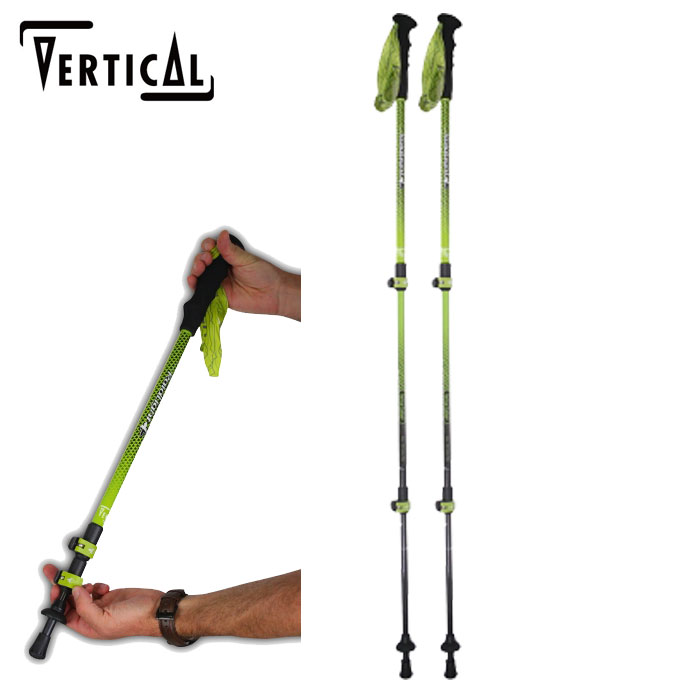 VERTICAL ヴァーティカル Vertical Carbon3 poles 〔登山 ツアースキー トレッキングポール 17/18〕 (Black Lime):RMB002