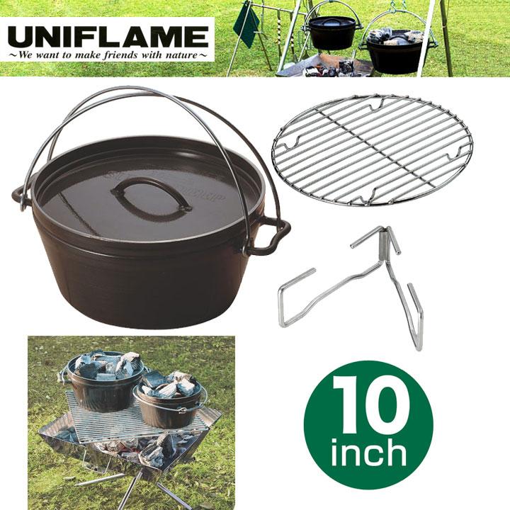 UNIFLAME ユニフレームダッチオーブン スーパーディープ 10インチ <スモーカー オーブン キャンプ> (BK):660973