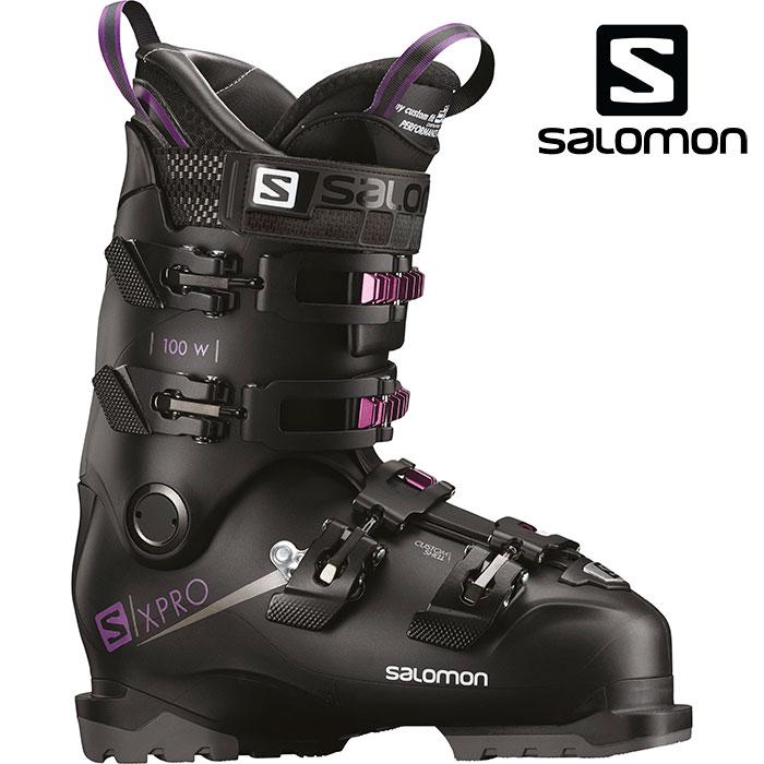 SALOMON サロモン 18-19 スキーブーツ X PRO 100 W エックスプロ100 W〔2019 オールラウンドモデル 上級者 女性用〕 (Black-Petrol):L40551600