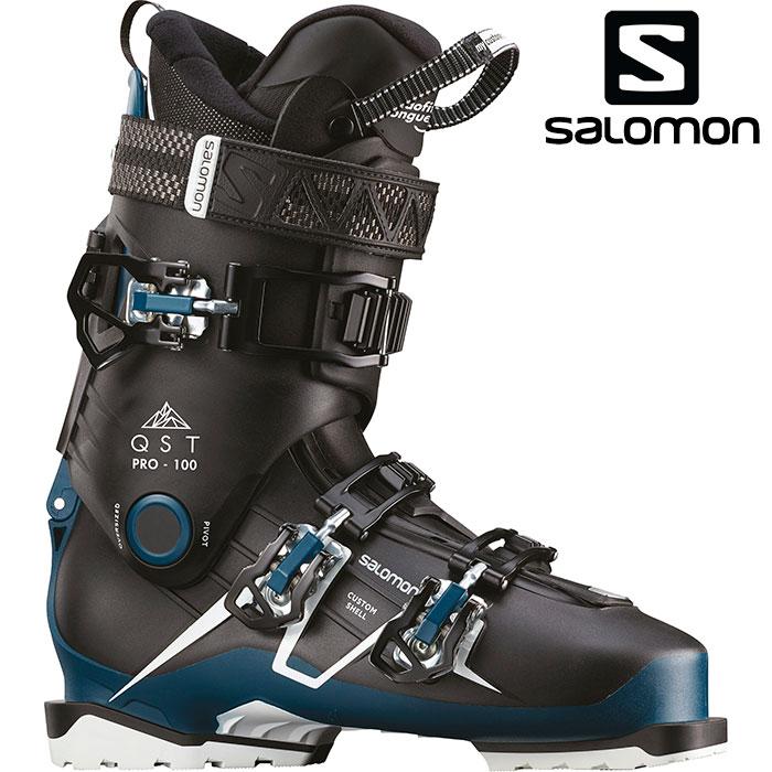 クーポン利用で10%OFF 8/9まで SALOMON サロモン 18-19 スキーブーツ QST PRO 100 クエストプロ100〔2019 スキーブーツ オールラウンドモデル 上級者 〕 (Black-Petrol ):L40553900 [outlet boot]