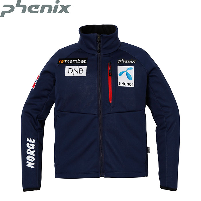 PHENIX JUNIOR SOFT SHELL JACKET 〔ジュニア スキーウェア レーシング ハーフパンツ 17/18 〕 (NV):PF7G2KT00