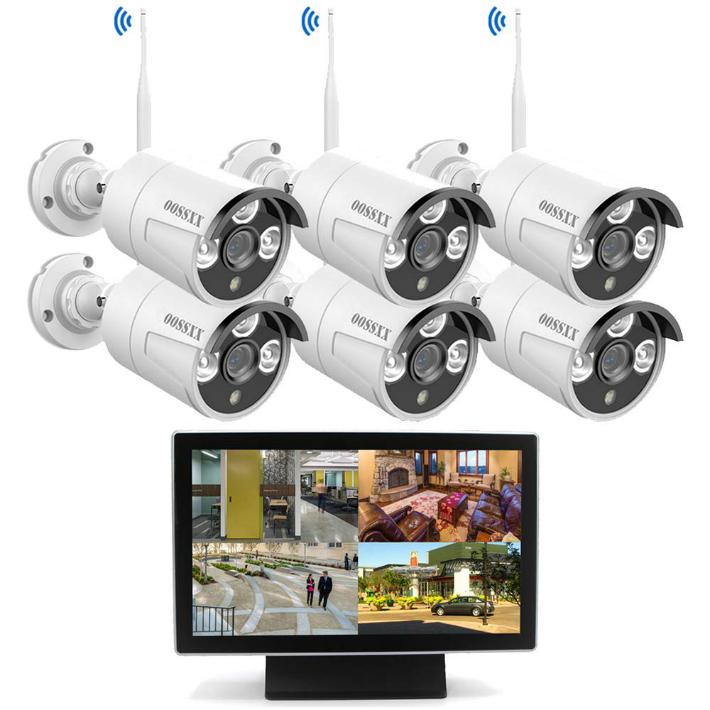 【最新wifi強化版】 10インチモニター付き ワイヤレス防犯カメラセット 6台1080P 200万画素 IP67防水防塵 ナイトビジョン リモート操作 OOSSXX (2TBハードディスク内蔵)osx-jpi10-w10806