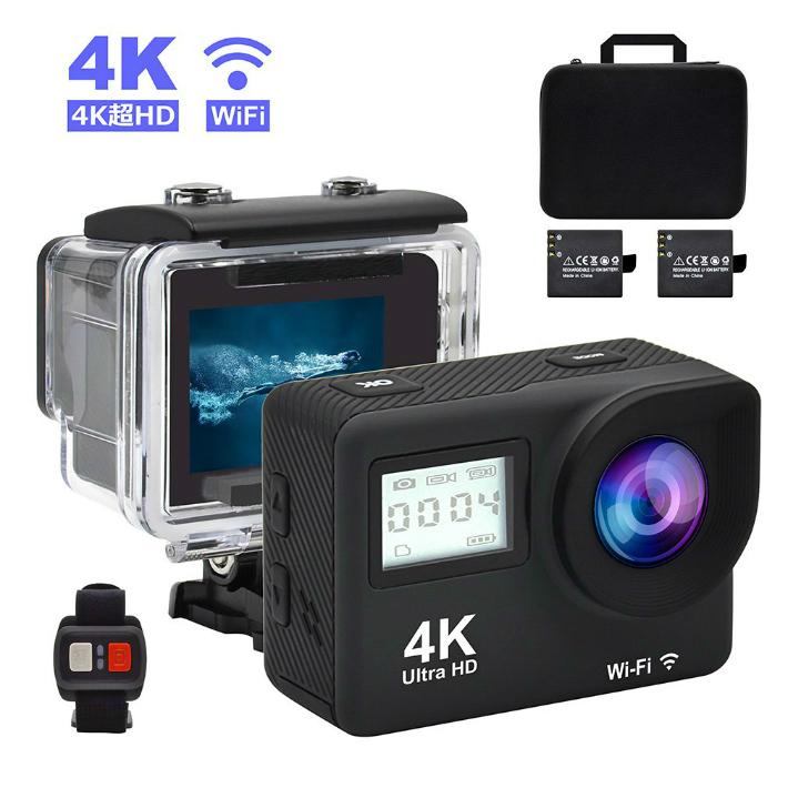 アクションカメラ 4K WiFi 搭載 16MP 1080P フルHD高画質 防水 スポーツカメラ 防水カメラ 水中カメラ 30M 170度広角レンズ ダブルスクリーン リモコン バイク 自転車 カート 車 2個充電電池 ACCFLY-C076YD