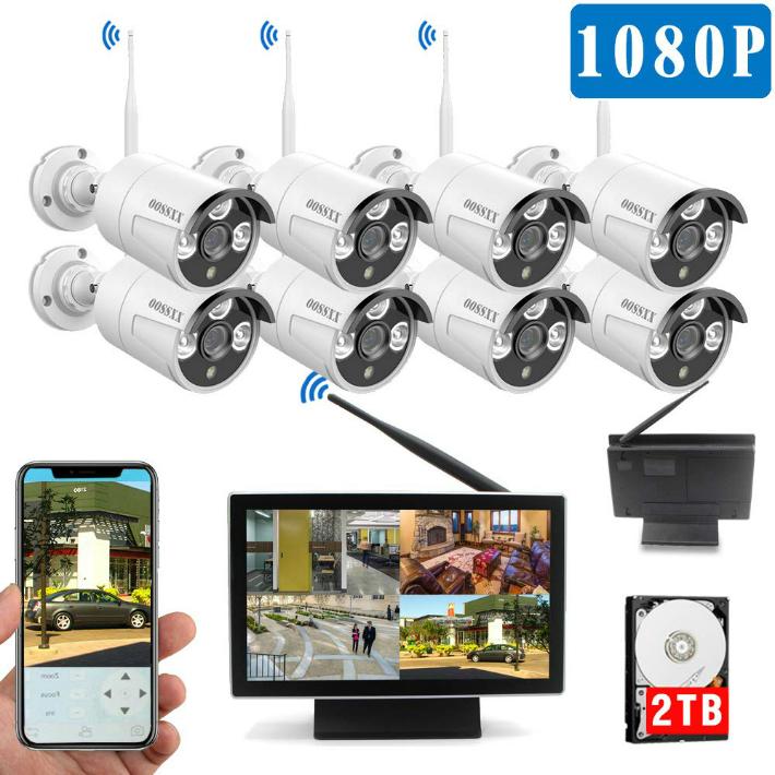 【最新wifi強化版】 10インチモニター付き ワイヤレス防犯カメラセット 8台1080P 200万画素 IP67防水防塵 モーション検知 ナイトビジョン リモート操作 OOSSXX (2TBハードディスク内蔵)osx-jpi10-w10808