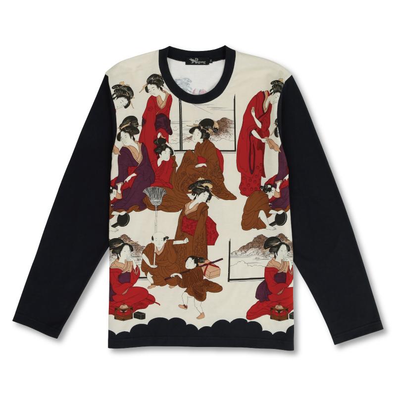 メンズ長袖Tシャツ <浮世絵/白赤> 【Pagong】 和柄 長袖 Tシャツ メンズ 京友禅 コットン100%