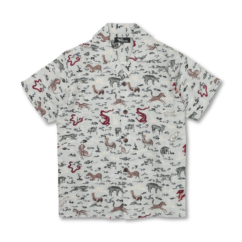 アロハシャツ <十二支/銀鼠> 【Pagong】 アロハ 和柄 京友禅 シルク100%
