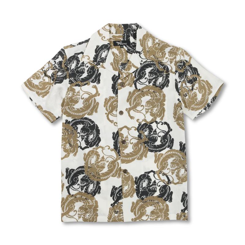 アロハシャツ <古龍/白黒> 【Pagong】 和柄 アロハ 京友禅 シルク100%