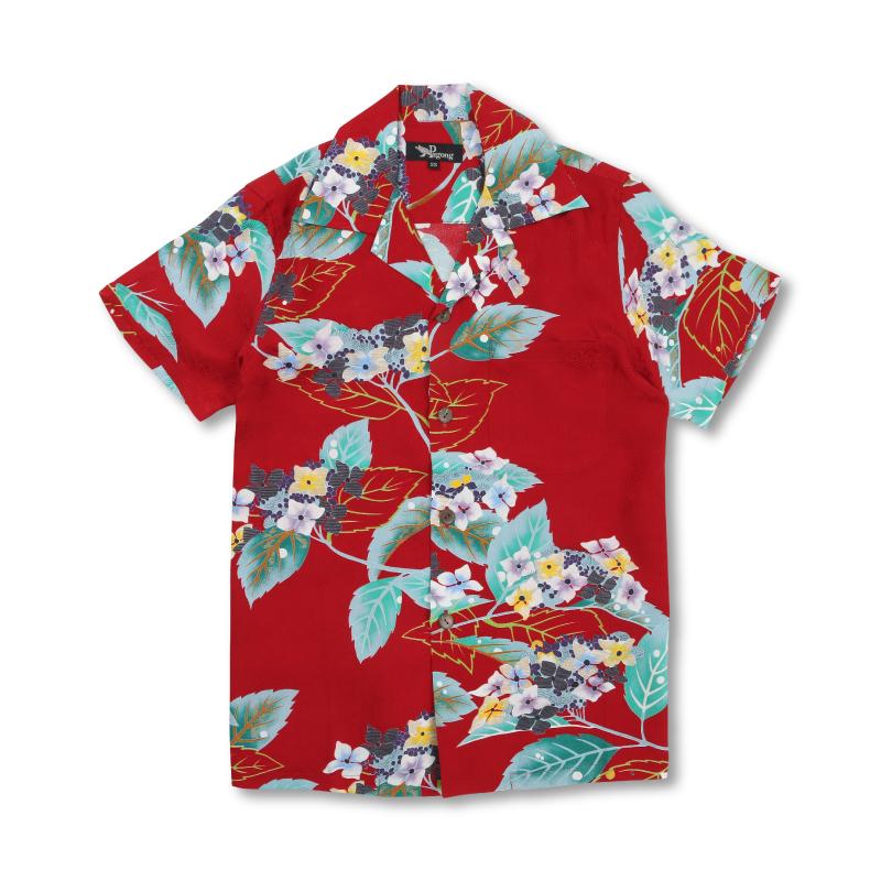 アロハシャツ <紫陽花/赤> 【Pagong】 アロハ 和柄 京友禅 シルク100%