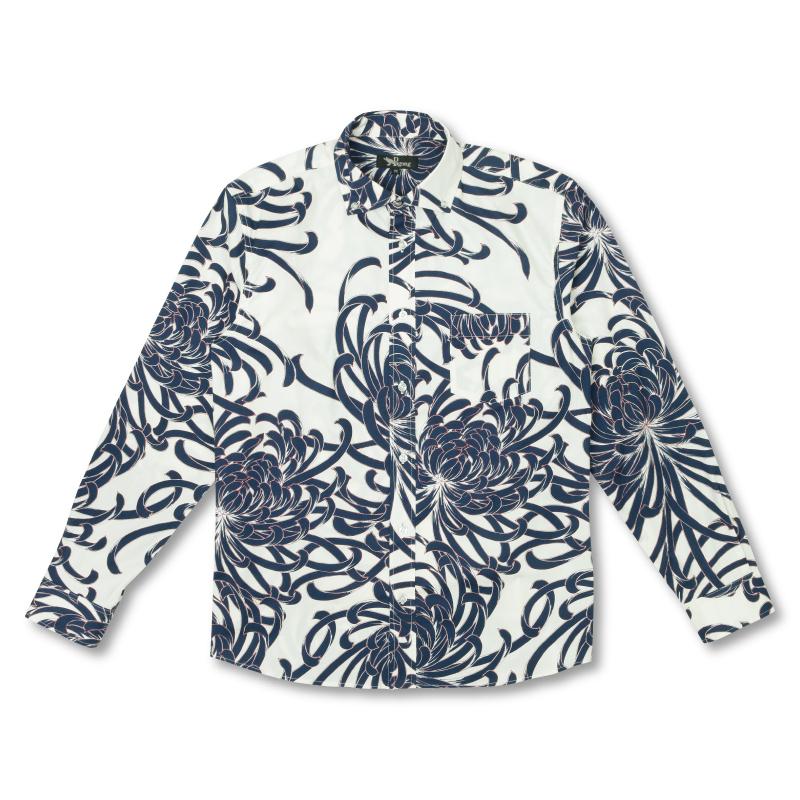 ボタンダウンシャツ <乱菊/白紺> 【Pagong】 和柄 長袖 ボタンダウン メンズ 京友禅 コットン98%ポリウレタン2%
