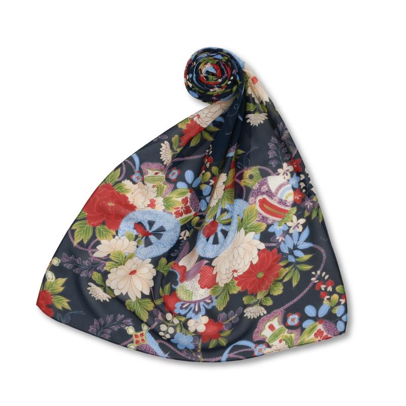 シルクスカーフ <花車と宝尽し/紺赤> 【Pagong】 和柄 スカーフ ストール 京友禅 UV加工 シルク100%