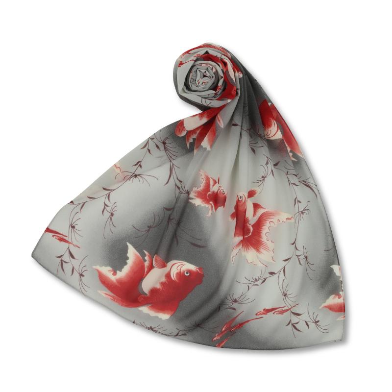 シルクスカーフ <金魚/墨> 【Pagong】 和柄 スカーフ ストール 京友禅 UV加工 シルク100%