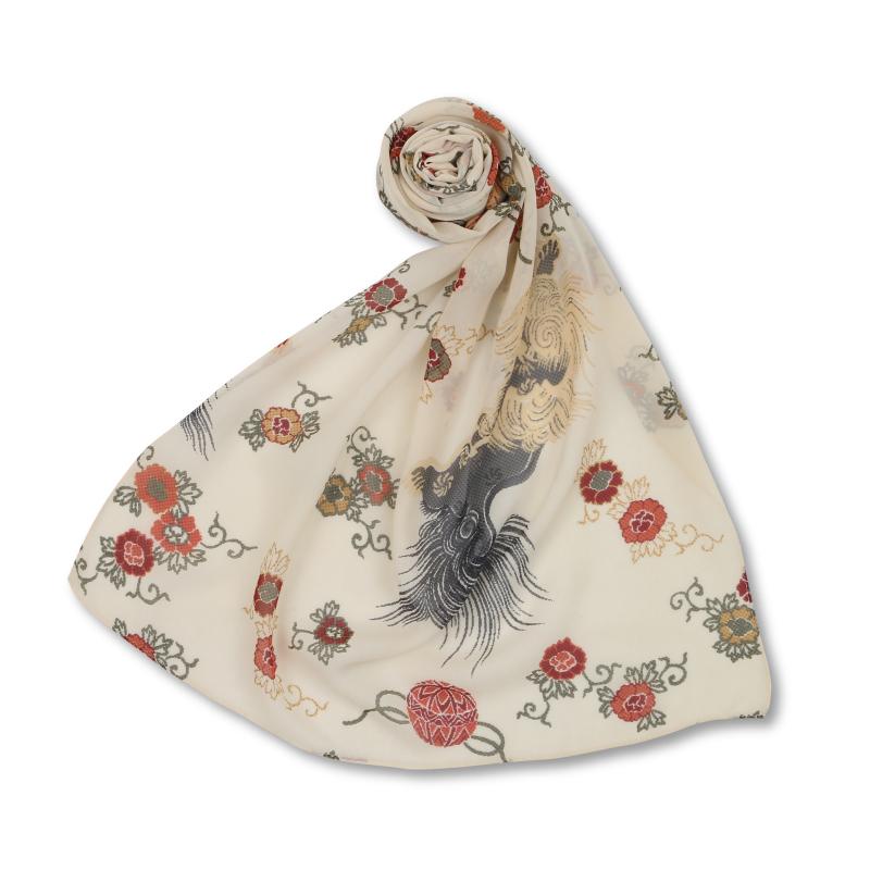 シルクスカーフ <獅子/白赤> 【Pagong】 和柄 スカーフ ストール 京友禅 UV加工 シルク100%