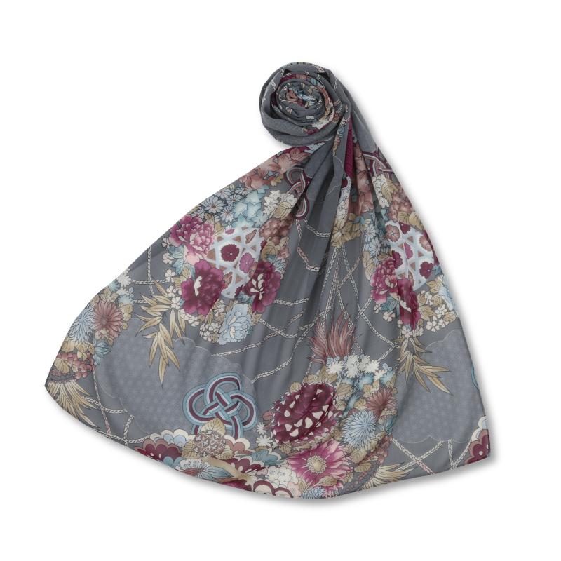 シルクスカーフ <薬玉/灰> 【Pagong】 和柄 スカーフ ストール 京友禅 UV加工 シルク100%