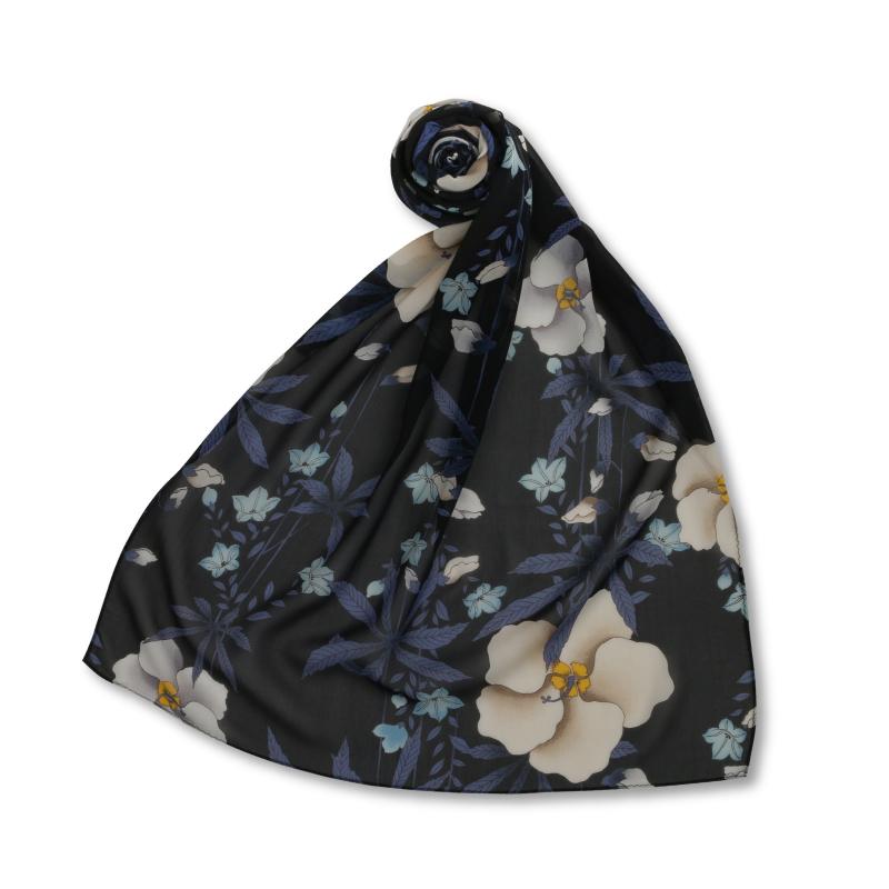 シルクスカーフ <麻と桔梗/黒紫> 【Pagong】 和柄 スカーフ ストール 京友禅 UV加工 シルク100%