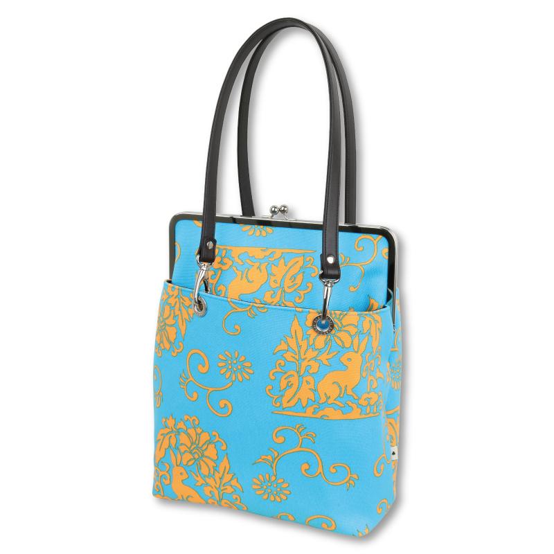 がま口トートバッグ<花うさぎ/水色橙> Pagong パゴン AYANOKOJI あやの小路 がま口 バッグ トートバッグ