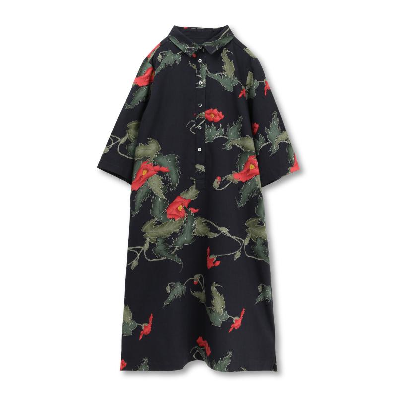 シャツカラーワンピース<けし/黒赤> 【Pagong】 パゴン 京友禅 和柄 ワンピース シャツカラー ウール混素材