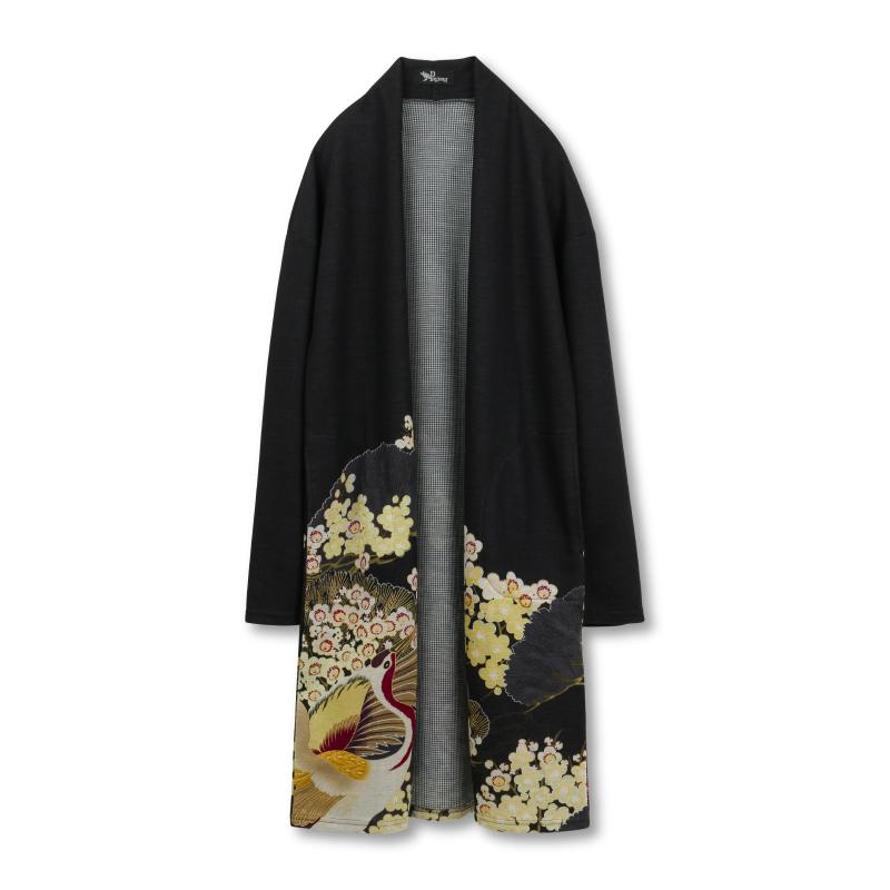 コーディガン <百年の鶴/黒黄> 【Pagong】 パゴン 京友禅 和柄 カーディガン ロング